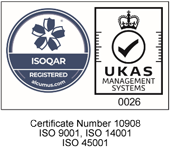 ISOQAR UKAS - Certificate Number 10908 ISO 9001, ISO 14001, ISO 45001